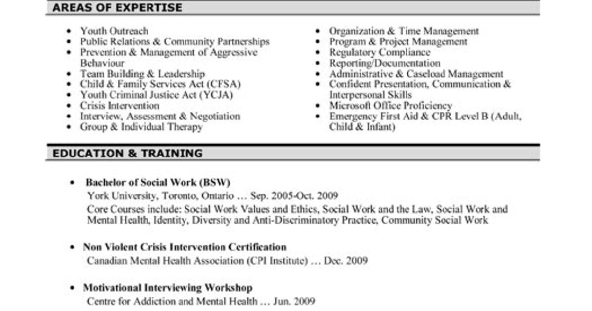 sample social work resume 2