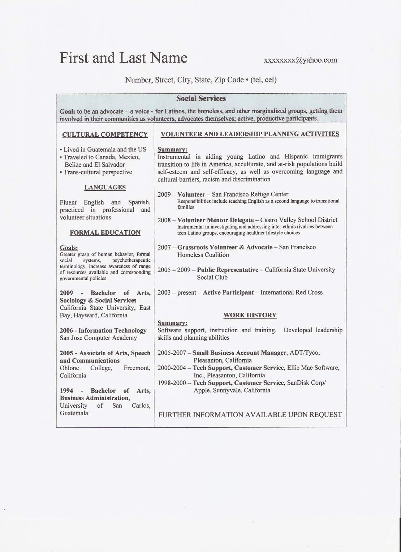 sample social work resume 1